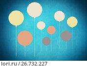 Купить «Colorful balloons floating on blue background», иллюстрация № 26732227 (c) Wavebreak Media / Фотобанк Лори