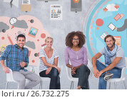 Купить «Group of people sitting in front of business colorful graphics», фото № 26732275, снято 27 мая 2020 г. (c) Wavebreak Media / Фотобанк Лори