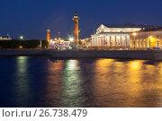 Биржа и Ростральные колонны летней ночью в Санкт-Петербурге, фото № 26738479, снято 18 июня 2017 г. (c) Николай Мухорин / Фотобанк Лори