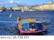 Купить «Чайки летают над маленьким речным судном на реке Неве. Санкт-Петербург, Россия.», фото № 26738931, снято 2 июля 2017 г. (c) Bala-Kate / Фотобанк Лори