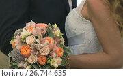 Close-up of bride and groom. Happy best day. Стоковое видео, видеограф worker / Фотобанк Лори