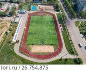 Стадион в провинциальном городе, вид сверху, фото № 26754875, снято 12 августа 2017 г. (c) Геннадий Соловьев / Фотобанк Лори