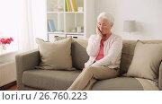 Купить «unhappy woman suffering toothache at home», видеоролик № 26760223, снято 25 июня 2017 г. (c) Syda Productions / Фотобанк Лори