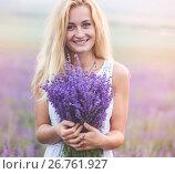 Beautiful girl on the lavender field. Стоковое фото, фотограф Кирилл Греков / Фотобанк Лори