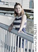 Купить «Girl posing on city bridge in summer day», фото № 26762811, снято 5 июля 2017 г. (c) Яков Филимонов / Фотобанк Лори