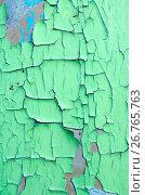 Текстура потрескавшейся зелёной краски на старой поверхности. Стоковое фото, фотограф Ольга Коцюба / Фотобанк Лори