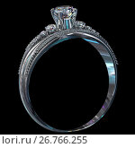 Купить «Silver engagement band with diamond gem.», иллюстрация № 26766255 (c) Gennadiy Poznyakov / Фотобанк Лори