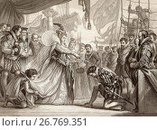 Queen Elizabeth knighting Sir Francis Drake on board the Golden Hind at Deptford, London, April 4th, 1581. Elizabeth I ,1533 to 1603. Queen regnant of... Стоковое фото, фотограф Hilary Jane Morgan / age Fotostock / Фотобанк Лори