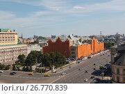 Вид сверху на Лубянский проезд и Политехнический музей во время реконструкции (2016 год). Редакционное фото, фотограф Ольга Липунова / Фотобанк Лори