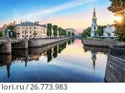 Купить «Пикалов мост и колокольня», фото № 26773983, снято 11 июля 2017 г. (c) Baturina Yuliya / Фотобанк Лори