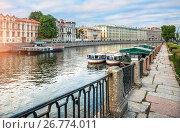 Купить «Фонтанка на замке The Fontanka River in St. Petersburg», фото № 26774011, снято 9 июля 2017 г. (c) Baturina Yuliya / Фотобанк Лори