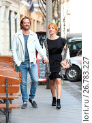 Annika Ernst and boyfriend Oliver Dressnandt taking a walk hand in... (2016 год). Редакционное фото, фотограф Brian Dowling / WENN.com / age Fotostock / Фотобанк Лори