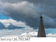 Купить «Wooden Church dome in the background of the cloudy sky», фото № 26793947, снято 20 июля 2017 г. (c) Валерий Смирнов / Фотобанк Лори