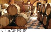 Купить «Interior of wine cellar with many wooden barrels», видеоролик № 26803151, снято 21 сентября 2016 г. (c) Яков Филимонов / Фотобанк Лори
