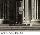 Купить «Architecture background of colonnade of the Kazan Cathedral in St Petersburg Russia», фото № 26803651, снято 15 августа 2017 г. (c) Зезелина Марина / Фотобанк Лори