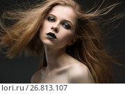 Купить «Young woman with bright make-up», фото № 26813107, снято 15 июля 2017 г. (c) Типляшина Евгения / Фотобанк Лори