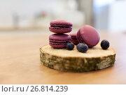 Купить «blueberry macarons on wooden stand», фото № 26814239, снято 8 мая 2017 г. (c) Syda Productions / Фотобанк Лори