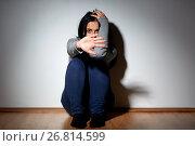Купить «unhappy woman crying on floor at home», фото № 26814599, снято 20 января 2017 г. (c) Syda Productions / Фотобанк Лори