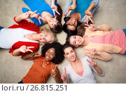 Купить «international group of happy women showing peace», фото № 26815251, снято 18 марта 2017 г. (c) Syda Productions / Фотобанк Лори