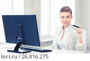 Купить «businesswoman with computer using credit card», фото № 26816275, снято 1 июня 2013 г. (c) Syda Productions / Фотобанк Лори