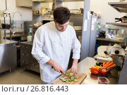 happy male chef cooking food at restaurant kitchen. Стоковое фото, фотограф Syda Productions / Фотобанк Лори