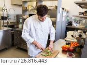 Купить «happy male chef cooking food at restaurant kitchen», фото № 26816443, снято 2 апреля 2017 г. (c) Syda Productions / Фотобанк Лори