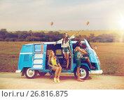 Купить «happy hippie friends in minivan car in africa», фото № 26816875, снято 27 августа 2015 г. (c) Syda Productions / Фотобанк Лори