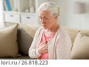 Купить «senior woman suffering from heartache at home», фото № 26818223, снято 20 июня 2017 г. (c) Syda Productions / Фотобанк Лори