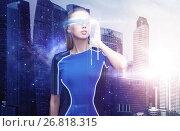 Купить «woman in virtual reality glasses over space city», фото № 26818315, снято 17 ноября 2012 г. (c) Syda Productions / Фотобанк Лори