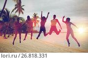 Купить «happy friends dancing and jumping on beach», фото № 26818331, снято 3 августа 2014 г. (c) Syda Productions / Фотобанк Лори