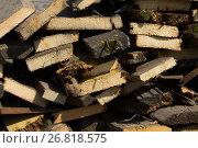 Купить «Woodpile - firewood for the winter, design or texture - telephoto shot», фото № 26818575, снято 23 августа 2017 г. (c) Константин Шишкин / Фотобанк Лори