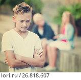 Купить «Upset boy after quarrel with playmates», фото № 26818607, снято 27 июля 2017 г. (c) Яков Филимонов / Фотобанк Лори