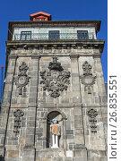 Купить «Monumental fountain (Fonte da Ribeira) with a St John the Baptist statue on Ribeira Square in Porto city, second largest city in Portugal.», фото № 26835551, снято 11 декабря 2016 г. (c) easy Fotostock / Фотобанк Лори