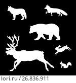 Купить «Set of silhouettes of wild animals», иллюстрация № 26836911 (c) Сергей Антипенков / Фотобанк Лори