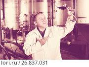 Купить «Wine maker controls quality of wine», фото № 26837031, снято 12 октября 2016 г. (c) Яков Филимонов / Фотобанк Лори