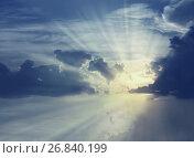 Купить «Sun shining in sky», фото № 26840199, снято 19 октября 2018 г. (c) Яков Филимонов / Фотобанк Лори