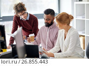 business team with tablet pc in office. Стоковое фото, фотограф Syda Productions / Фотобанк Лори