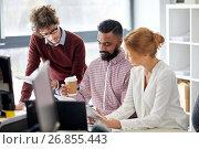 Купить «business team with tablet pc in office», фото № 26855443, снято 1 октября 2016 г. (c) Syda Productions / Фотобанк Лори