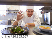 Купить «happy male chef cooking food at restaurant kitchen», фото № 26855567, снято 2 апреля 2017 г. (c) Syda Productions / Фотобанк Лори