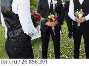 Купить «Bridegroom and best man standing with bouquet of flowers in garden», фото № 26856391, снято 2 мая 2017 г. (c) Wavebreak Media / Фотобанк Лори