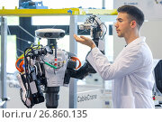 Humanoid robot for automotive assembly tasks in collaboration with people, Industry, Tecnalia Research & innovation, Technology and Research Centre, Miramon... Стоковое фото, фотограф Javier Larrea / age Fotostock / Фотобанк Лори