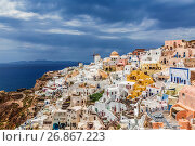 Вид на город Ия на острове Санторини в Греции (2017 год). Стоковое фото, фотограф Наталья Волкова / Фотобанк Лори