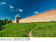 Купить «South wall three towers of Smolensk Kremlin.», фото № 26872939, снято 27 июня 2017 г. (c) Александр Fanfo / Фотобанк Лори