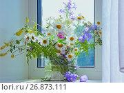 Букет полевых цветов в солнечном свете  возле окна, фото № 26873111, снято 16 июля 2017 г. (c) Татьяна Белова / Фотобанк Лори