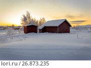 Купить «House in the village in winter», фото № 26873235, снято 5 января 2017 г. (c) Михаил Кочиев / Фотобанк Лори