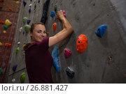 Купить «Portrait of confident female athlete climbing wall in gym», фото № 26881427, снято 10 мая 2017 г. (c) Wavebreak Media / Фотобанк Лори