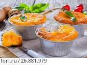 Купить «Three portions of French julienne. view from above», фото № 26881979, снято 18 июля 2019 г. (c) Oksana Zh / Фотобанк Лори