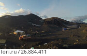 Туристический лагерь у подножия вулкана Толбачик на Камчатке (time lapse), видеоролик № 26884411, снято 21 сентября 2017 г. (c) А. А. Пирагис / Фотобанк Лори