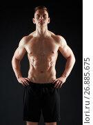 Купить «young man or bodybuilder with bare torso», фото № 26885675, снято 2 июля 2017 г. (c) Syda Productions / Фотобанк Лори