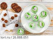 Купить «portions of mint Cheesecake Mousse Dessertr, view from above», фото № 26888051, снято 10 января 2017 г. (c) Oksana Zh / Фотобанк Лори